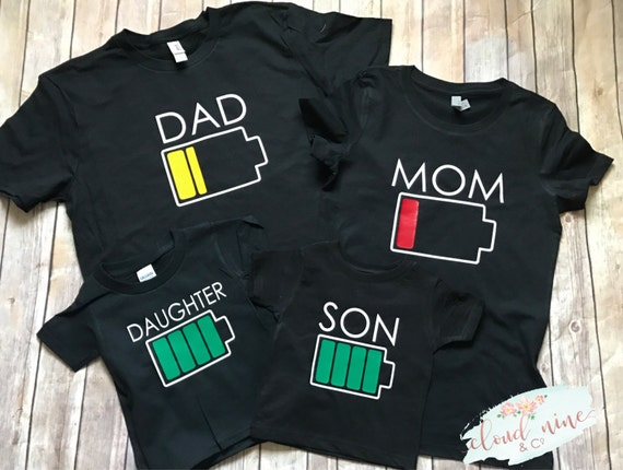 Mom Low Battery Shirt Daughter Full Battery Shirt Son Full-5462