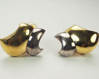 Elizabeth Errico beautiful gold tone and sterling silver clip on earrings