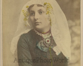 Netherlands ? beautiful woman in ethnic dress antique hand tinted cabinet photo