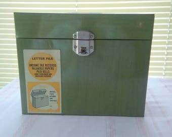 Large Vintage File-A-Way Metal File Box with Key, Index Folders, Ballonoff Metal Products, Made in USA, Green, 60s 70s