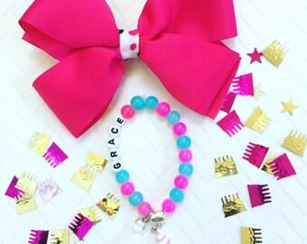 Ice Cream Beaded Bracelet, Ice Cream Charm Bracelet, Personalized Girl's Beaded Bracelets, I Love Ice Cream Bracelets,Kid's Tassel Bracelets