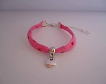 Red liberty bracelet with a silvery star - Gypsy chic jewelry - Bonhemian style