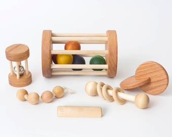 Montessori Baby Set of 6 Toys -- Montessori Infant Set -- Motor Development Set