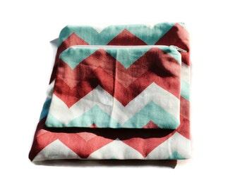 Reusable Snack Sandwich Zipper Bags Set of 2 Pink Blue White Chevron