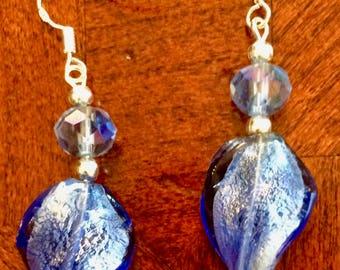Blue Lampwork Twist Bead Earrings
