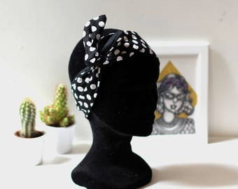 Reversible headband fabric dot black and white