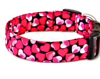 Valentines Day Red & Pink Hearts Dog Collar