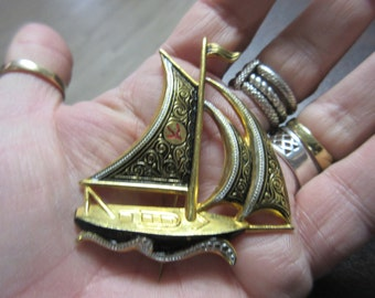 Big Damascene Ship Pin Brooch Signed Spain