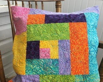 Quilted cushion cover, pillow cover, batik cushion