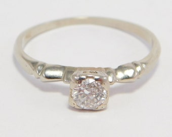 Art Deco .15 Old Cut Diamond Ring 14K Pretty