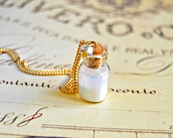Pretty white sparkles bottle necklace, glass bottle necklace, vial necklace, coral necklace - bottle pendant, bottle necklace
