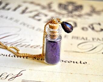 Lovely purple sparkles filled bottle necklace - bottle necklace, purple necklace, vintage looking necklace, vial necklace