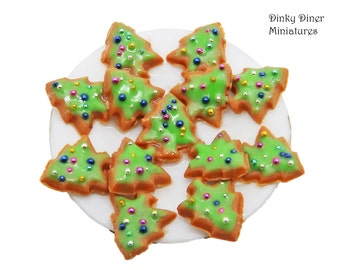 Gingerbread Christmas Tree Biscuits - Miniature 1:12 Scale Food