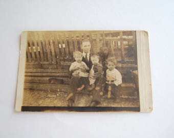 Vintage Photograph, Father and Children