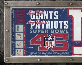 New York Giants Vintage Ticket Poster - Superbowl 46