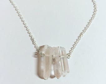 Kyber Crystal Inspired Necklace • Quartz Crystal • Sterling Silver Plated • Layering Necklace