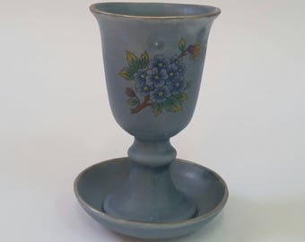 Kiddush Cup Gray, Floral Design, Silver Trim, Jewish Wine Goblet, Judaica Wedding Gift, Shabbat Sabbath Blessing, Ceramic, Israel, Holiday