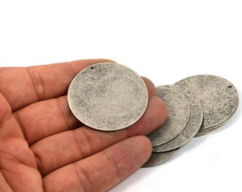 5 Pcs. Antique Silver  40 mm Round Disc Blanks 1 Hole Findings
