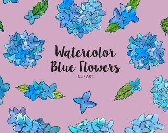 Watercolor Blue Flowers Clip Art, Hydrangea Watercolor Clip Art, Floral Graphic Elements, Watercolor Flower Clip Art, Handpainted Hydrangea