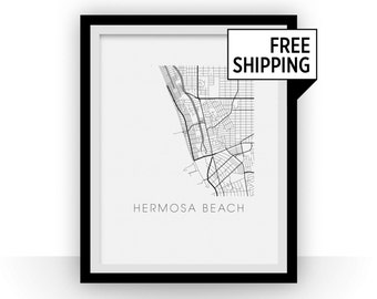 Hermosa Beach Map Black and White Print - california Black and White Map Print