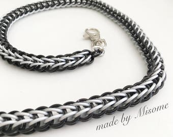 Chainmail wallet chain jewelry in black and silver menslook, chain mail menswear, handmade chain mail made by misome