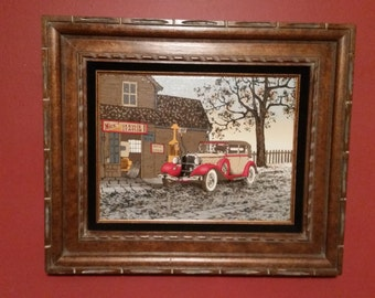 Vintage H. Hargrove Painting Nicks Service Station 16x20 man cave gift, gas station membroblia,  canvas painting, Old truck painting