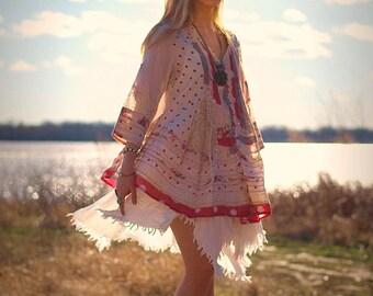 Rosetta cotton dress top babydoll pink red floral polka dot Bohemian cotton BOHO dress gypsy shabby chic swing top caftan ruffled blouse