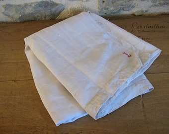 French white linen with monogram L- antique linen fabric for reworking
