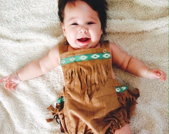 BABY Pocahontas Bloomers Outfit With Red Arm Cuff Custom Fit For Your Baby 3mon to 24 mon