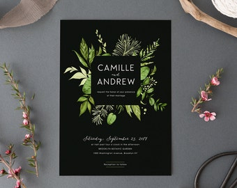 Woodland Wedding Invitation Set,Printable Forest Wedding Suite,Nature Wedding,Outdoor Wedding Invites with photo,Green Leaves Garden Wedding