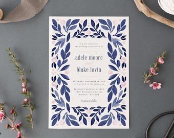Wedding Invitation Set, Printable Wedding Invites, Natural Greenery Wedding Invitations,Watercolor Navy Blush Garden Wreath,Painted Leaves