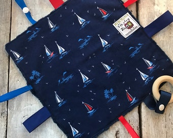 baby 'Rikiki' blanket sailboats and navy minky