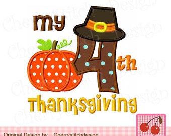 "My 4th Thanksgiving, Pilgrim hat Number 4 Machine Embroidery Applique Design - 4x4 5x5 6x6"""