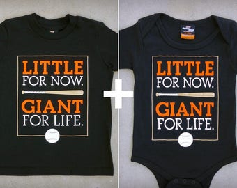 Little Giant (San Francisco Giants) Gift Set - Matching SF-inspired Baseball Youth Boy and Baby Onepiece & T-shirts // SF Giants // MLB