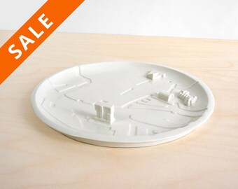 City plate of Rotterdam - architectural bowl - rivers - sushi plate - sharing platter - dish - fruitbowl - key plate - cheese plate sharing