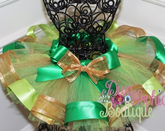 St. Patrick's Day Tutu - Ribbon Tutu - Green Gold Tutu