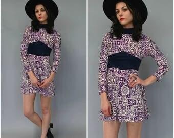 1960s psychadelic mock turtleneck mini dress