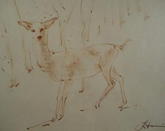 Vintage Watercolor Painting Deer in Woods Animal Portrait Original Rustic Modernism Framed Signed Woods Nature Wildlife