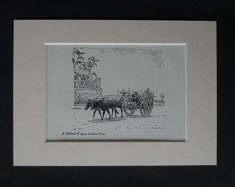 1913 Antique Salina Cruz Print, Mexican Decor, Available Framed, Mexico Art, Oaxaca Gift, Bullock Cart Picture, Ox Wall Art, Bull Carriage