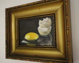 Still Life painting done in Oils - Original artwork of an egg