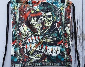 Vintage Tattoo Skull Backpack - Bag Gym Handbag Vintage Romance Love Alternative Skeleton
