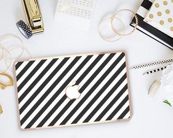 Platinum Edition Black Stripes with w/Rose Gold Edge Hybrid Hard Case for Apple Mac Air & Mac Retina , New Macbook 2016