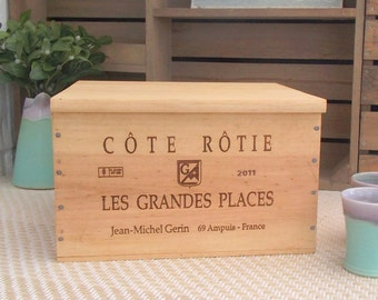 Bread bin - kitchen crate - wooden wine box - Les Grandes Places - Cote Rotie - wine crate-baking box-crate storage - box with lid