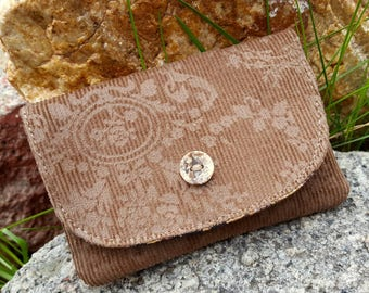 Corduroy Business Card Holder, Small Fabric Wallet, Brown  Billfold