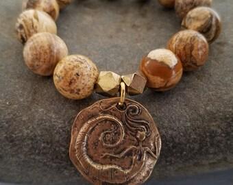 Gemstone Stretch Bracelet Bronze Mermaid Charm Jasper Beaded Stack Bracelet Boho Jewelry by LizzieTishBoutique