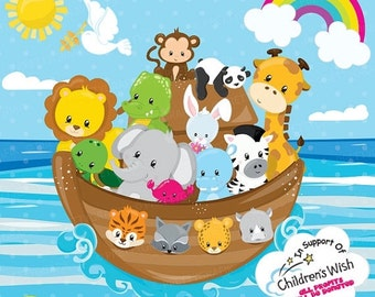 80% OFF SALE Noah's ark clipart commercial use, non-profit pack, ark with animals vector graphics, animal kingdom digital clip art - CL936