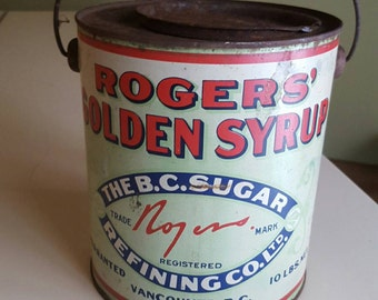 RARE Roger's Golden Syrup Tin Rustic 1940s Collectible Advertising B C Sugar Refining Co Ltd Industrial Plant Illustrated Litho Can Large
