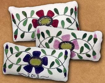 Primitive Wool Applique Pattern - Primrose Pincushion