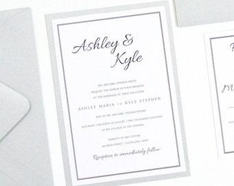 SALE! Silver Wedding Invitation, Wedding Invite, Card, Elegant, Black Invite, Script, Calligraphy, Classy, ASHLEY Design, Sample