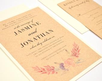 Rustic Wedding Invitation, Floral, Wreath, Kraft, Flowers, Romantic, Cream, Pink, Garden, Watercolor Bouquet Design, Sample